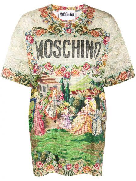 Зеленая прямая юбка мини с вырезом круглая Moschino