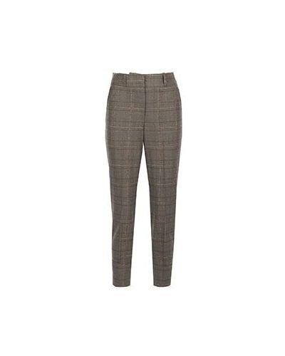 Шерстяные коричневые укороченные брюки Peserico