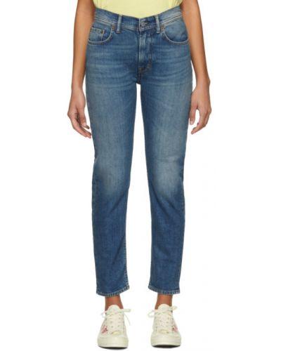 Niebieski jeansy na wysokości z kieszeniami z łatami Acne Studios