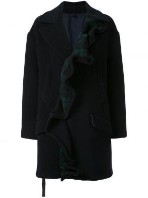 Однобортное синее длинное пальто Unravel Project