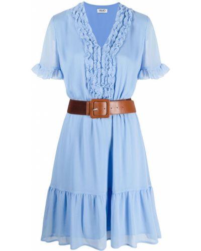Синее платье мини с поясом с короткими рукавами Liu Jo