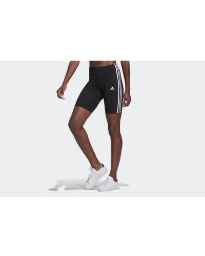 Czarne szorty w paski bawełniane Adidas