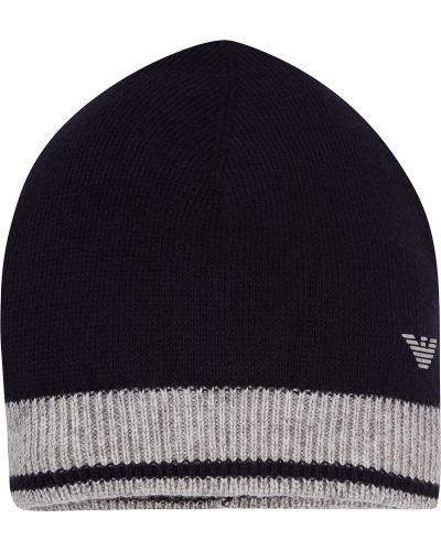Хлопковая синяя шапка Armani Junior
