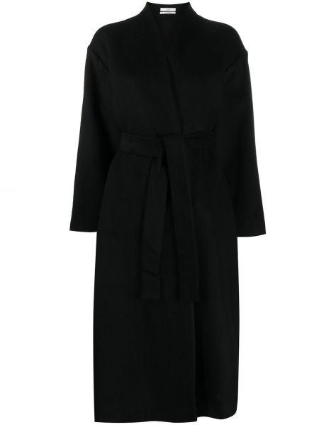 Черное кашемировое длинное пальто с поясом Co