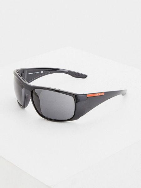Черные солнцезащитные очки прямоугольные с завязками Prada Linea Rossa