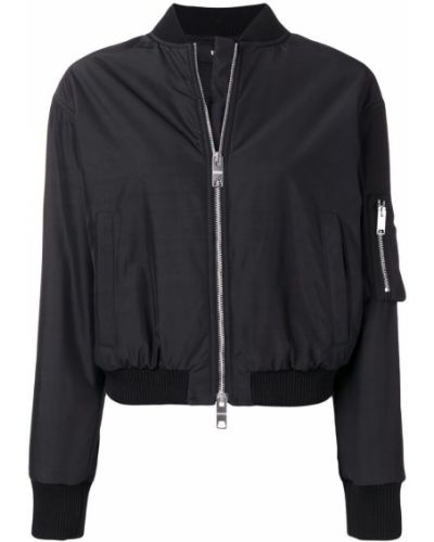 Черная длинная куртка с манжетами Versus