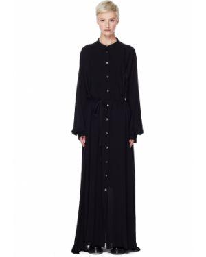 Платье с поясом платье-рубашка черное Ann Demeulemeester