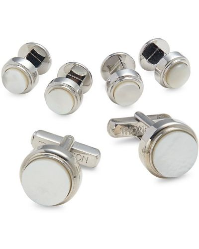 Białe spinki do mankietów perły Thompson Of London