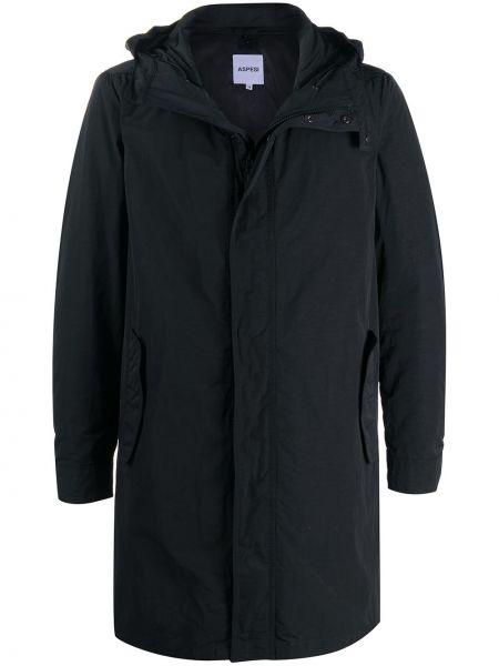 С рукавами черное длинное пальто с капюшоном Aspesi