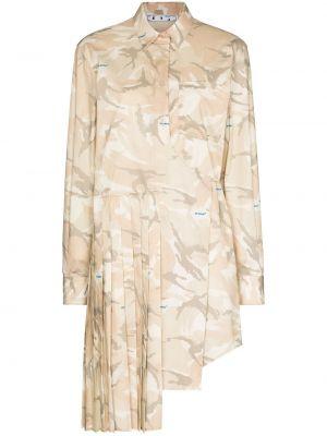 Beżowy bawełna pofałdowany sukienka mini z kołnierzem Off-white