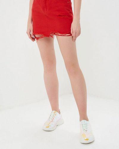Джинсовая юбка - красная Marissimo