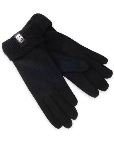 Klasyczne z kaszmiru czarne rękawiczki Karl Lagerfeld