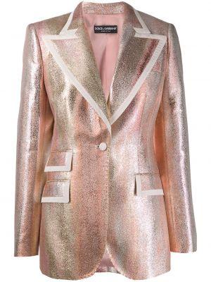 С рукавами шелковый удлиненный пиджак с карманами Dolce & Gabbana
