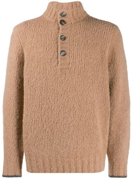 Prosto brązowy sweter włosy wielbłąda z długimi rękawami Brunello Cucinelli