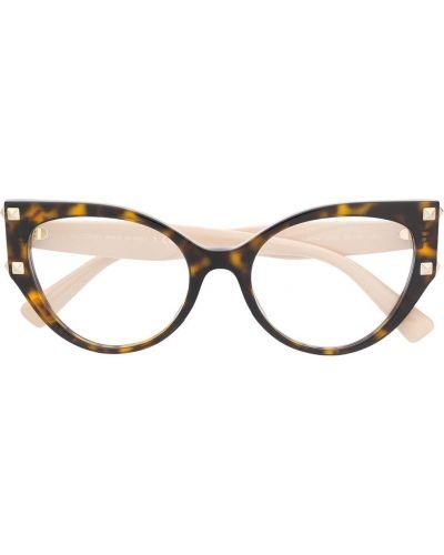 Золотистые очки кошачий глаз хаки с заклепками Valentino Eyewear
