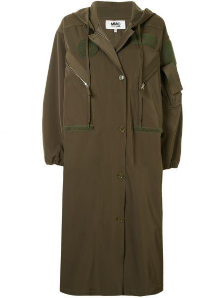Зеленая длинное пальто с капюшоном оверсайз Mm6 Maison Margiela