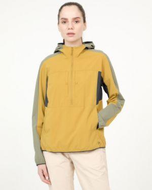 Желтая нейлоновая куртка с капюшоном на молнии с карманами Mountain Hardwear
