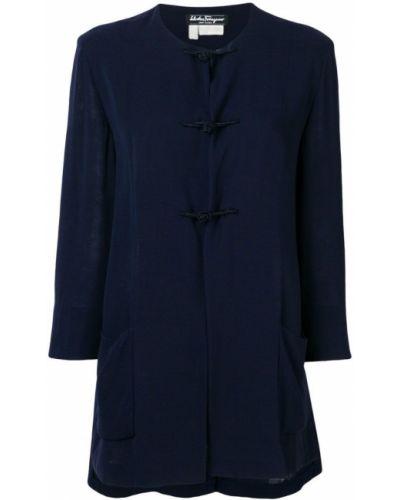 Синее пальто с капюшоном с воротником Salvatore Ferragamo Pre-owned