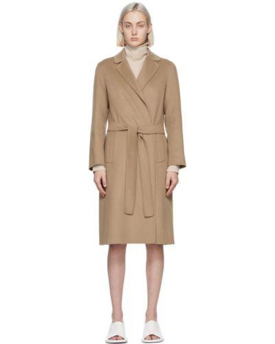 Шерстяное длинное пальто с воротником с поясом 's Max Mara