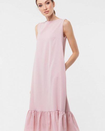 Платье миди розовое весеннее Vladi Collection