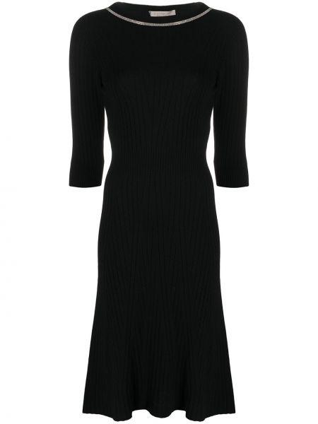 С рукавами шерстяное черное платье миди D.exterior