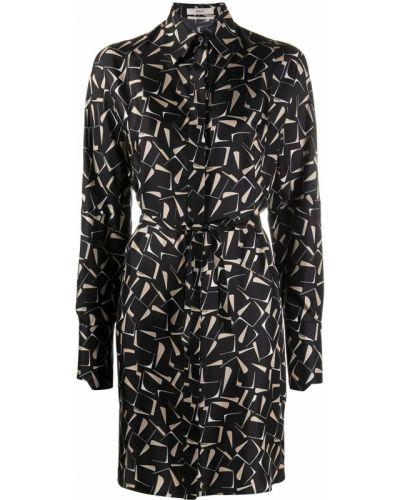 Шелковое платье миди - черное Bally
