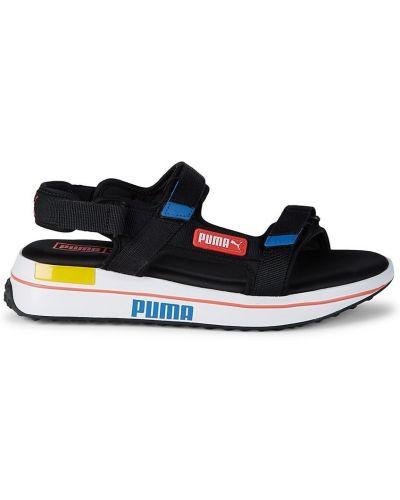 Текстильные открытые черные сандалии Puma