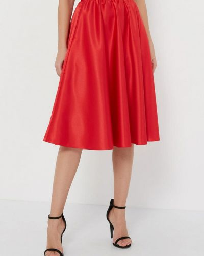 Шелковая красная юбка свободного кроя Silk Me