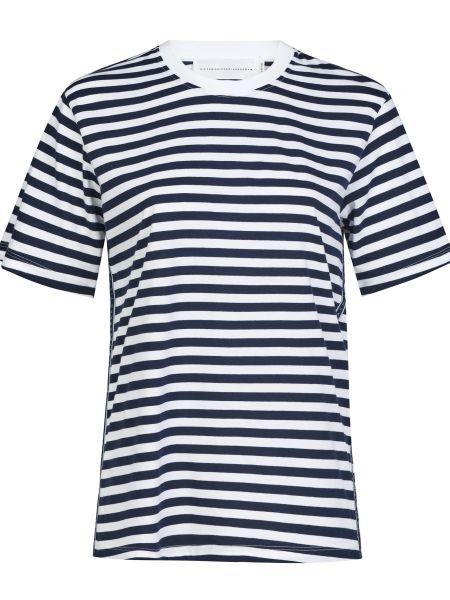 Хлопковая футболка - синяя Victoria Beckham