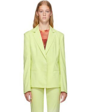 Нейлоновый желтый пиджак с карманами с воротником Miaou
