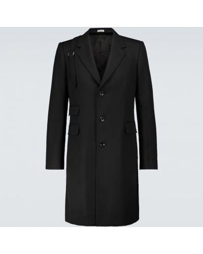 Однобортное шерстяное черное пальто Alexander Mcqueen