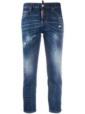 Синие укороченные джинсы с надписью на пуговицах Dsquared2