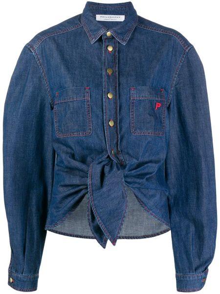 Синяя джинсовая рубашка с воротником с карманами Philosophy Di Lorenzo Serafini