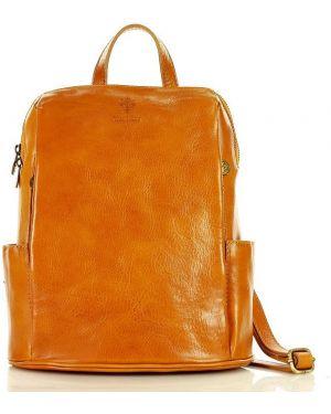 Skórzany plecak żółty włoski Mazzini