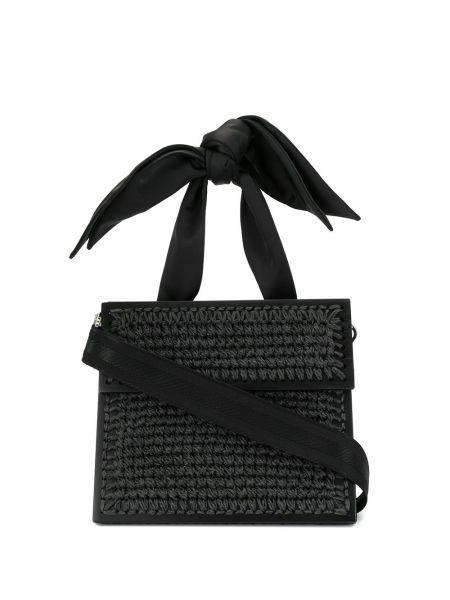 Черная соломенная сумка-тоут круглая из вискозы 0711