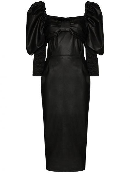 Прямое приталенное кожаное платье с вырезом Anouki
