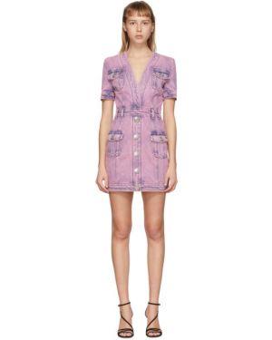Джинсовое платье розовое на пуговицах Balmain