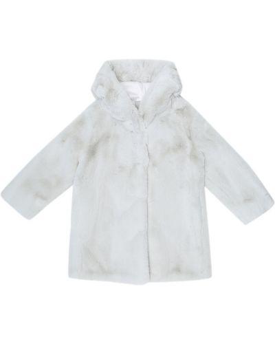 Белое пальто из искусственного меха Monnalisa