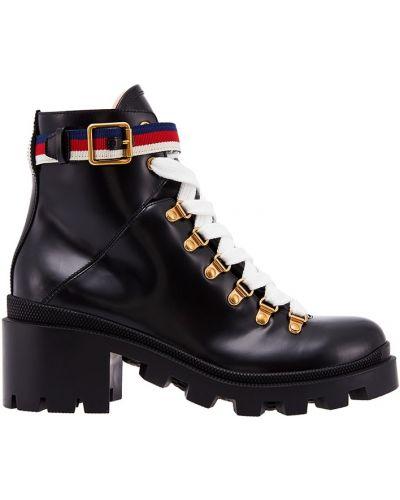 Ботинки на шнуровке с пряжкой кожаные Gucci