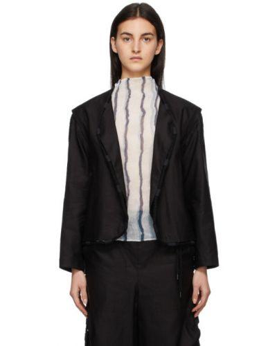 Czarna długa kurtka bawełniana z długimi rękawami Issey Miyake