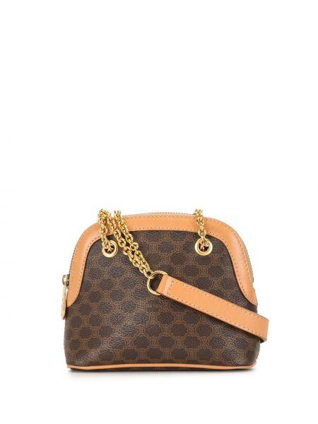 Золотистая кожаная коричневая маленькая сумка на молнии Céline Pre-owned