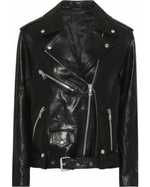Кожаная куртка черная байкерская Rta