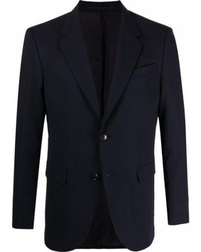 Шерстяной однобортный синий удлиненный пиджак Tiger Of Sweden