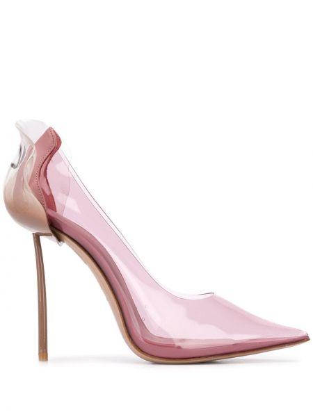 Кожаные розовые туфли-лодочки с острым носом на каблуке Le Silla