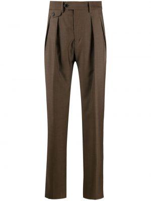 Brązowe spodnie z wysokim stanem bawełniane Lardini