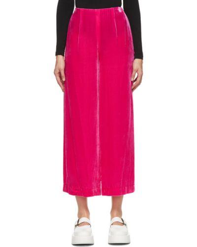 Różowy bezpłatne cięcie jedwab szerokie spodnie bezpłatne cięcie Enfold