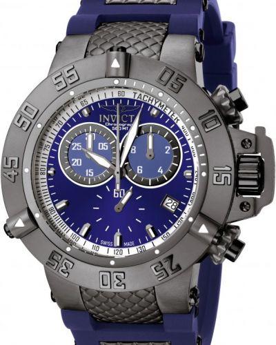 Синие со стрелками часы водонепроницаемые со вставками Invicta