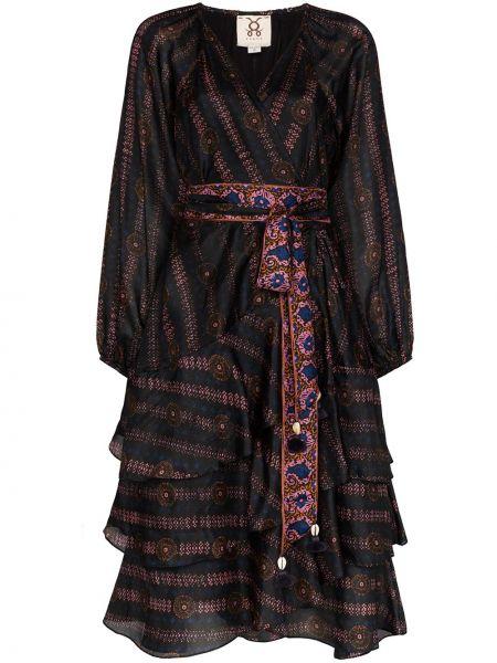 Шелковое платье с запахом с V-образным вырезом в морском стиле Figue