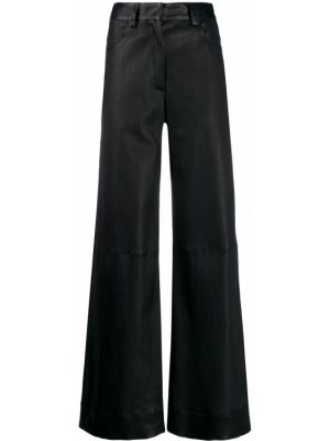 Синие кожаные брюки с поясом на пуговицах Inès & Maréchal