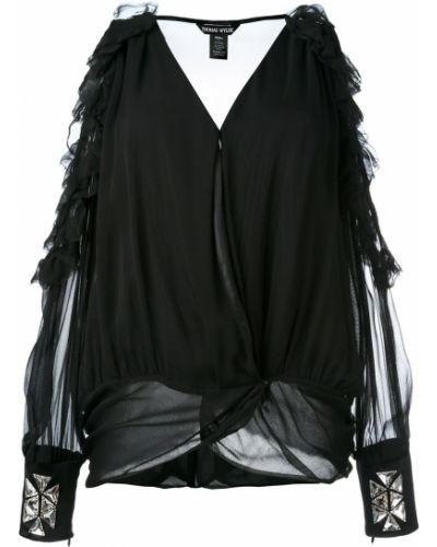 Блузка шелковая черная Thomas Wylde